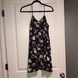 Floral sun dress with criss cross front